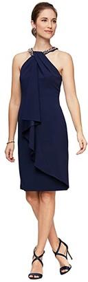 Alex Evenings Short Sheath Dress with Beaded Halter Neckline (Navy) Women's Dress