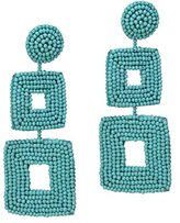 Kenneth Jay Lane Women's Turquoise Seed Beads Square Drop Pierced Earrings