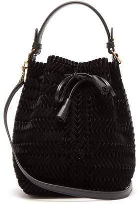 Anya Hindmarch The Neeson Mini Velvet Woven Bucket Bag - Womens - Black