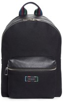Paul Smith Men's Leather Trim Canvas Backpack - Black