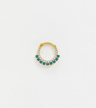 Kingsley Ryan Exclusive sterling silver gold plated single ear piercing with teal and clear crystals