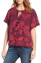 Lucky Brand Women's Tropical Leaves Peasant Top