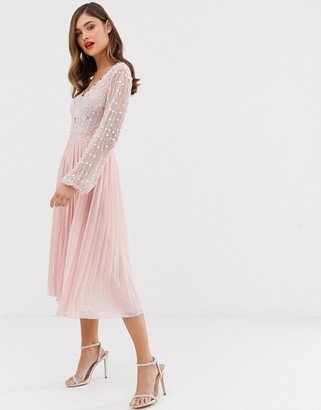 Frock and Frill long sleeve pleated midi dress with embellished upper-Pink