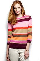 Classic Women's Petite Supima 3/4 Sleeve Stripe Sweater-Blue Brook