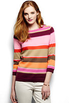 Lands' End Women's Tall Supima 3/4 Sleeve Stripe Sweater-Purple Sapphire Multi Stripe