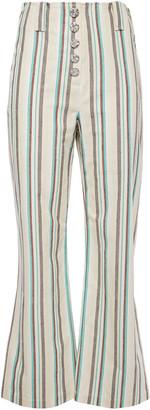 3.1 Phillip Lim Snap-detailed Striped Cotton Kick-flare Pants