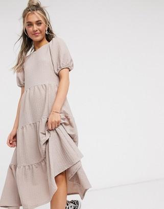 ASOS DESIGN oversized textured midi smock dress in toast
