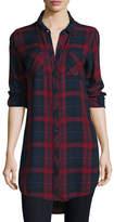 Go Silk Button-Front Plaid Boyfriend Long Shirt, Red/Multi, Plus Size