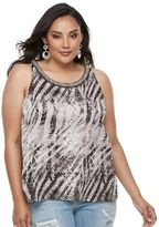 JLO by Jennifer Lopez Plus Size Print Ruffled Crepe Tank Top
