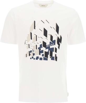 Ermenegildo Zegna T-SHIRT WITH LOGO PRINT M White, Beige, Blue Cotton