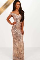 Pink Boutique Limited Edition Avella Rose Gold Sequin Bardot Maxi Dress