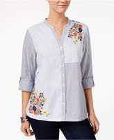 Style&Co. Style & Co Cotton Embroidered Colorblocked Shirt, Created for Macy's