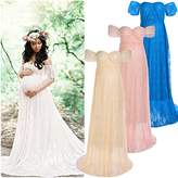 Womens Off Shoulder Pregnant Dresses Ruffle Sleeve Lace Maternity Maxi Photography Wedding Gown for Baby Shower