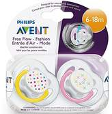 Avent Naturally Philips BPA Free Freeflow Pacifiers 6-18 Months, Assorted Colors 2 ea