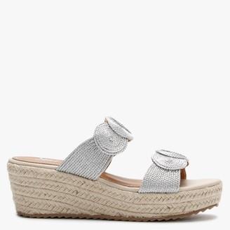 Df By Daniel Yvette Silver Rope Espadrille Wedge Sandals