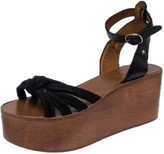 Isabel Marant Black Knot Rope and Leather Zia Wooden Wedge Sandals Size 39