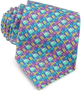 Missoni Multicolor Geometric Printed Silk Narrow Tie