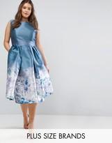 Chi Chi London Plus 2 In 1 Midi Dress With Border Print At Hem
