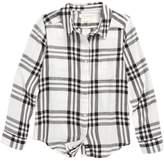 Treasure & Bond Girl's Jaspe Plaid Flannel Shirt