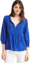 Gap Embroidery tassel split-neckline top