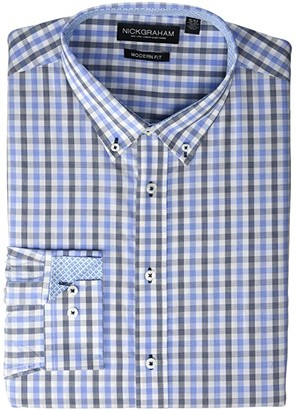 Nick Graham Plaid Print CVC Yarn-Dye Dress Shirt (Blue) Men's Long Sleeve Button Up