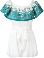 Mara Hoffman open embroidery bardot playsuit - women - Rayon - XS