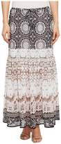 Tribal Pull-On 36 Printed Georgette Maxi Skirt with Tassel Women's Skirt