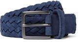 Anderson's - 3cm Blue Woven Suede Belt