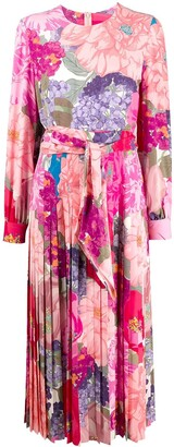 Valentino Pleated Floral Print Dress