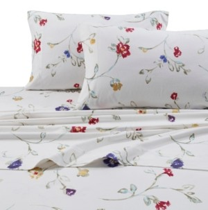 Tribeca Living Flannel Floral Garden 170-gsm Cotton Extra Deep Pocket Printed Cal King Sheet Set Bedding