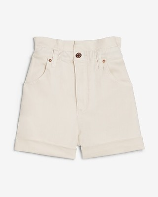 Express Super High Waisted White Rolled Paperbag Jean Shorts