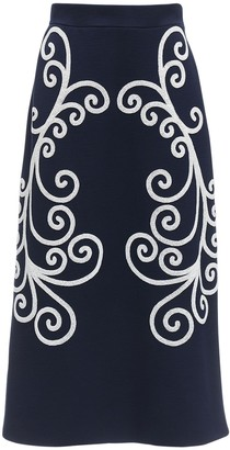 Prada Embroidered Wool Pencil Skirt