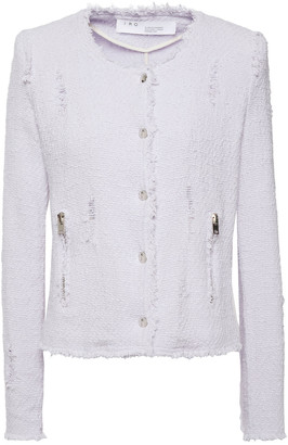 IRO Agnette Distressed Cotton-blend Boucle-tweed Jacket