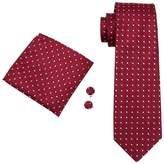 CAOFENVOO Men's Tie Hanky Cufflinks Jacquard Woven Silk Necktie N-1018