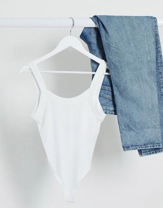 ASOS DESIGN chunky rib singlet bodysuit with scoop back in white