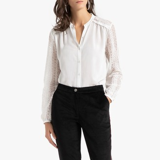Anne Weyburn Laced Grandad-Collar Shirt with Long Sleeves