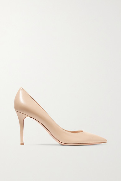 Gianvito Rossi 85 Leather Pumps - Beige