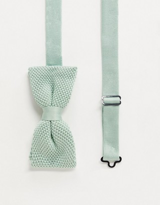 Twisted Tailor knitted bow tie in mint green