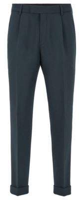 HUGO BOSS Cropped tapered-fit trousers with turn-ups