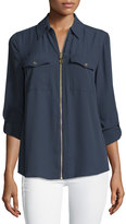 MICHAEL Michael Kors Dog Tag Zip-Front Blouse, Navy