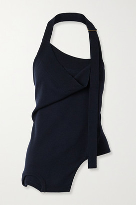 Monse Upside Down Layered Merino Wool Halterneck Top - Midnight blue