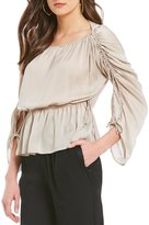 M.S.S.P. Matte Charmeuse Cinched Sleeve Blouse