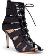 Gianvito Rossi Shae 85 black patent lace up sandals