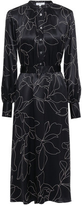 Equipment Alowette Floral-print Washed-silk Midi Dress