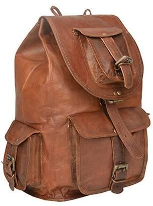 Habiller~ Unisex Genuine Leather 11 LTR. Vintage Brown Traveling Hiking Daypacks 8X15-(BP105)