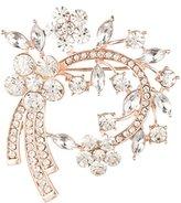 Anne Klein Rose Gold Tone Cluster Crystal Stones Brooch Set