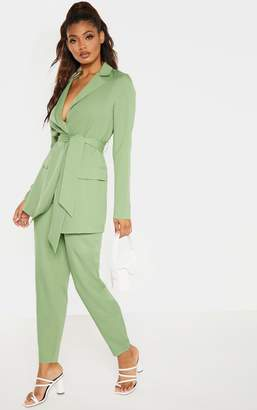 4fashion Tall Sage Green Wide Leg Slim Cuff Suit Trousers