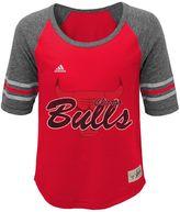 adidas Girls 7-16 Chicago Bulls High-Low Raglan Tee