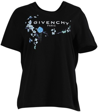 Givenchy Black And Blue Floral Graphic T-shirt