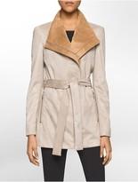 Calvin Klein Ultra-Suede Zip-Front Moto Trench Coat